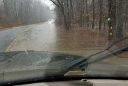 Flooding is pictured on West Catharpin Road in Spotsylvania, Virginia. (Courtesy Marcus Hoyt)