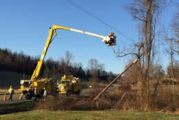 Rappahannock Electric Cooperative crews work to restore power in Virginia. (Courtesy REC)