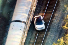 An Amtrak Auto Train struck a car on the tracks Tuesday morning near Lorton, Virginia. (NBC Washington/Brad Freitas)