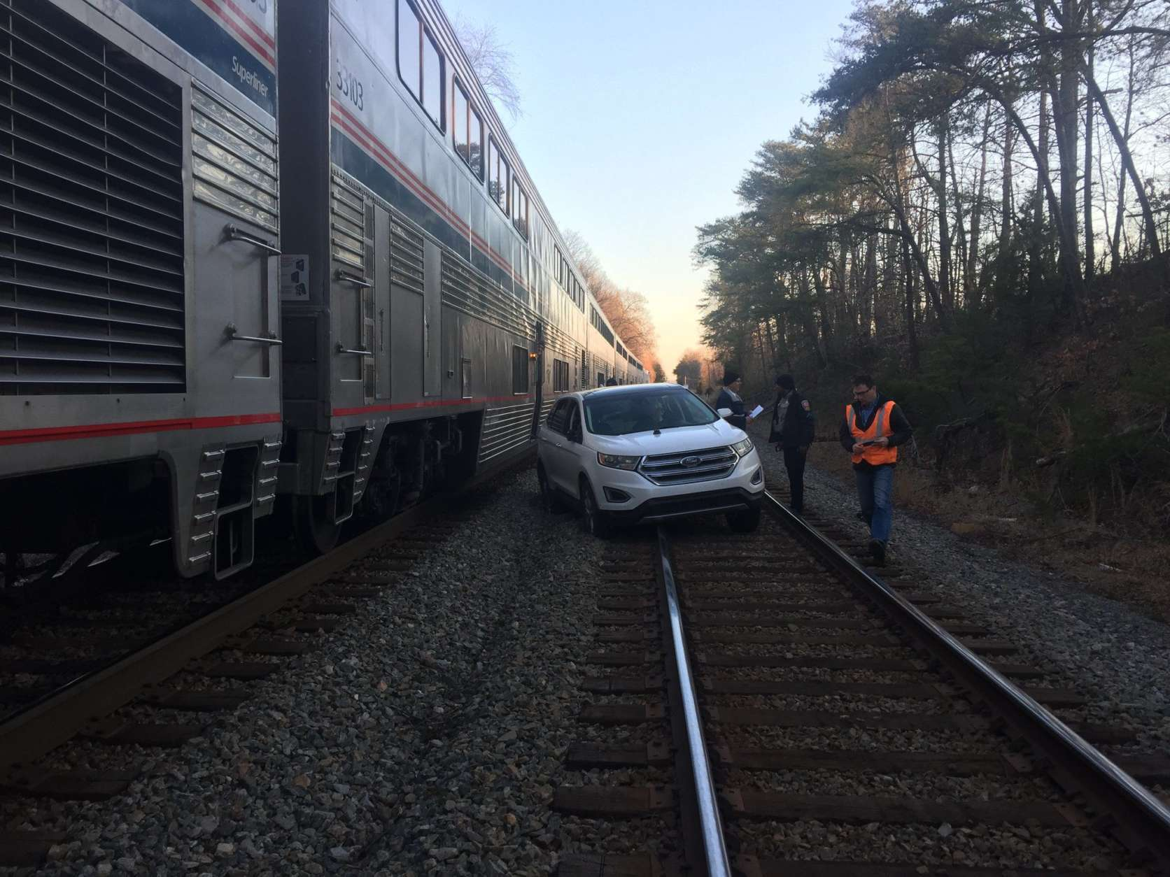 Police said a senior citizen made a wrong turn Tuesday morning and ended up on the train tracks. (Courtesy Fairfax County police)