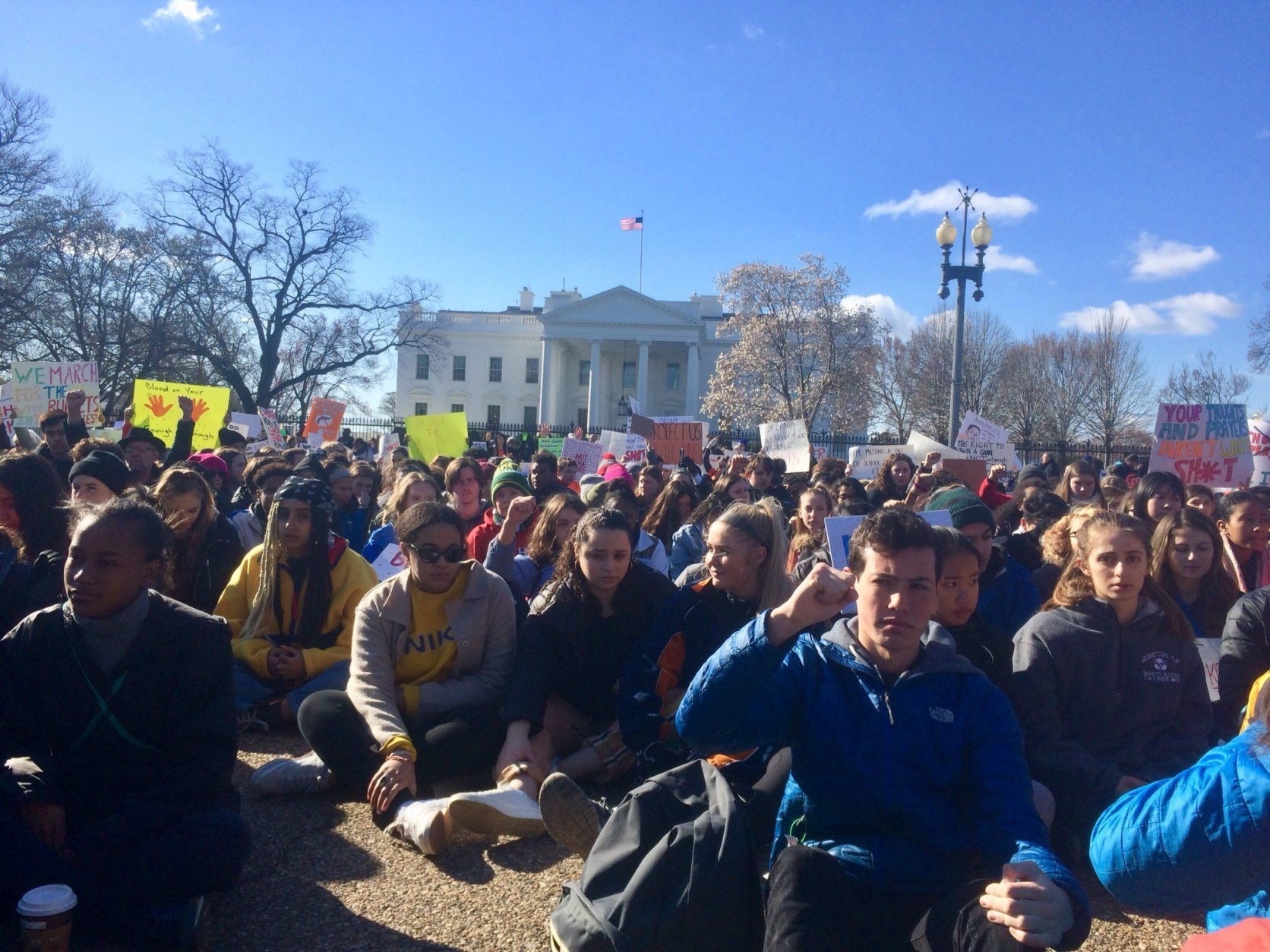 More than 28 D.C.-area schools are participated in the walkout. (WTOP/Nick Iannelli)
