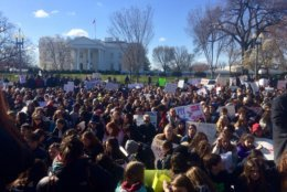 Students sit silently in protest in front of the White House. (WTOP/Nick Iannelli)