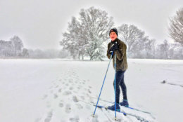 Wednesday's snow was the perfect excuse for CJ Appleton of Alexandria, Virginia, to go cross-country skiing. (WTOP/Kristi King)