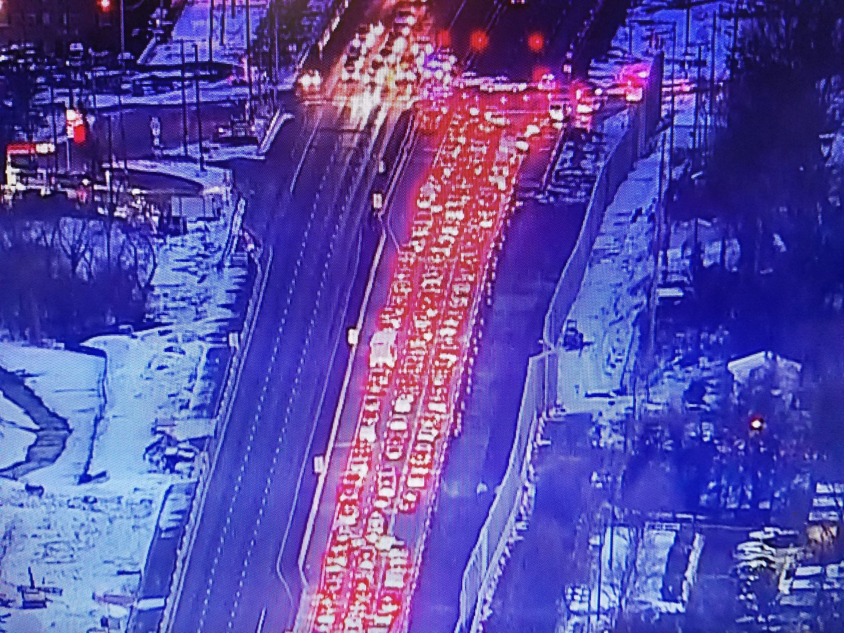 Traffic is backed up on northbound Indian Head Highway Thursday morning after a pedestrian was fatally struck. (Courtesy NBC Washington)