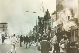 Crowds on Seventh Street as buildings burn. (Courtesy D.C. Fire and EMS Museum)
