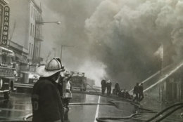 Firefighters battle a blaze. (Courtesy D.C. Fire and EMS Museum)