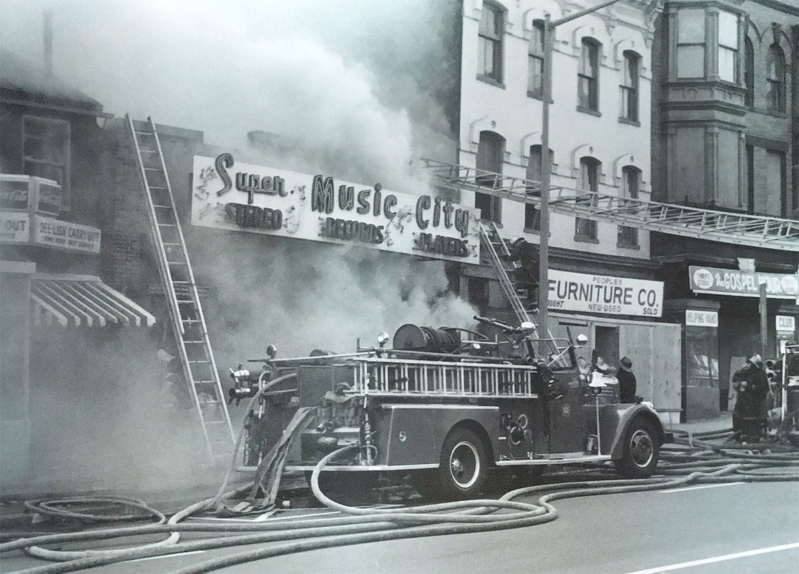 A lone truck battles a blaze on Seventh Street. (Courtesy D.C. Fire and EMS Museum)