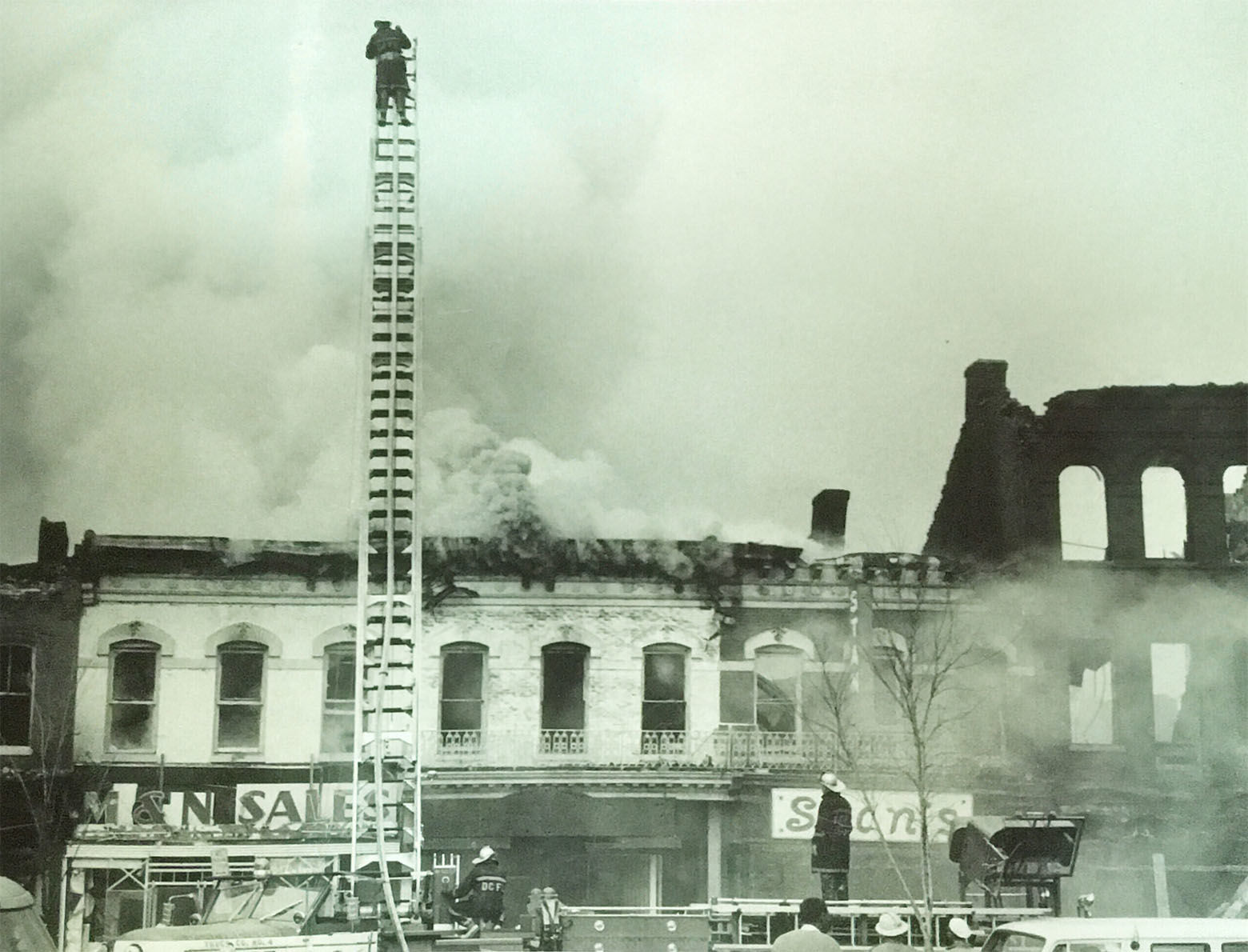 Crews battle a blaze on Seventh Street. (Courtesy D.C. Fire and EMS Museum)