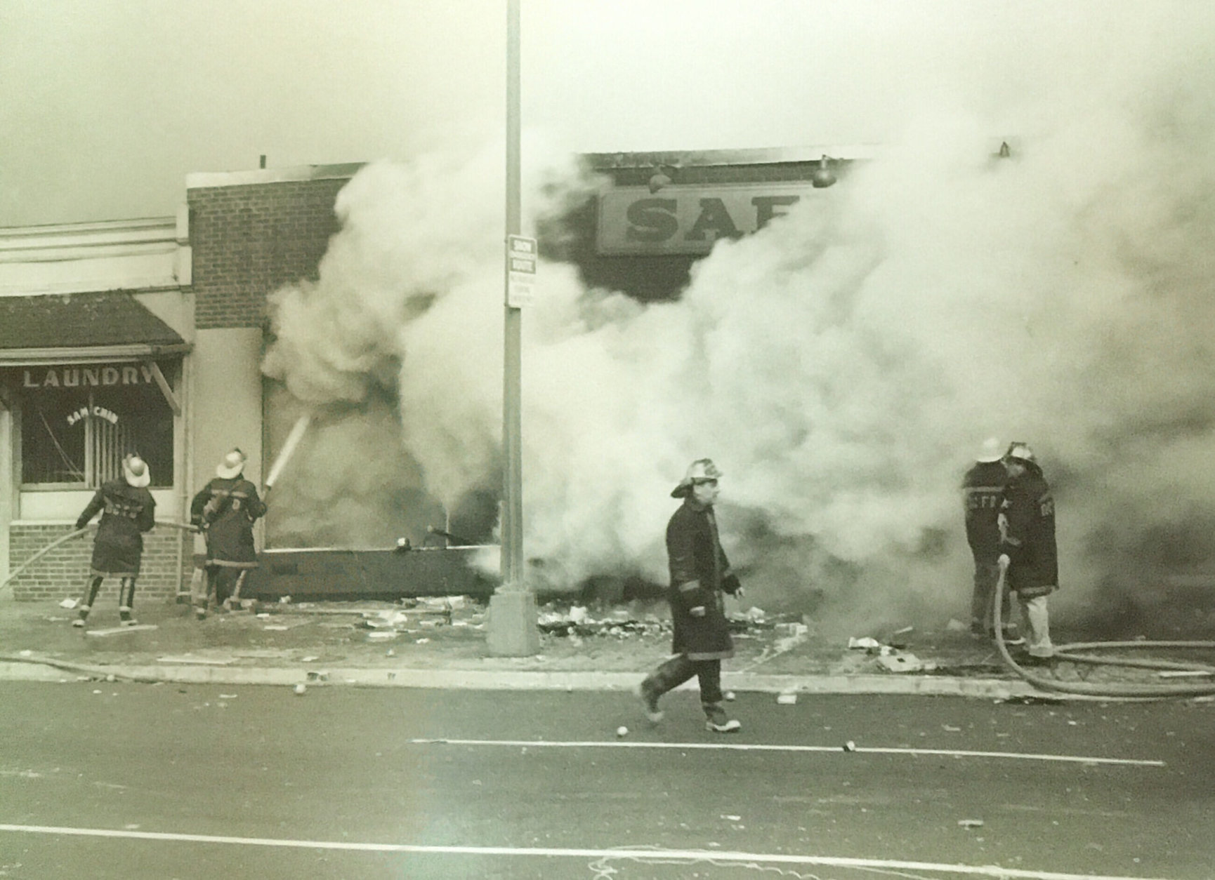 Firefigthers respond to a blaze at a Safeway on Seventh Street. (Courtesy D.C. Fire and EMS Museum)