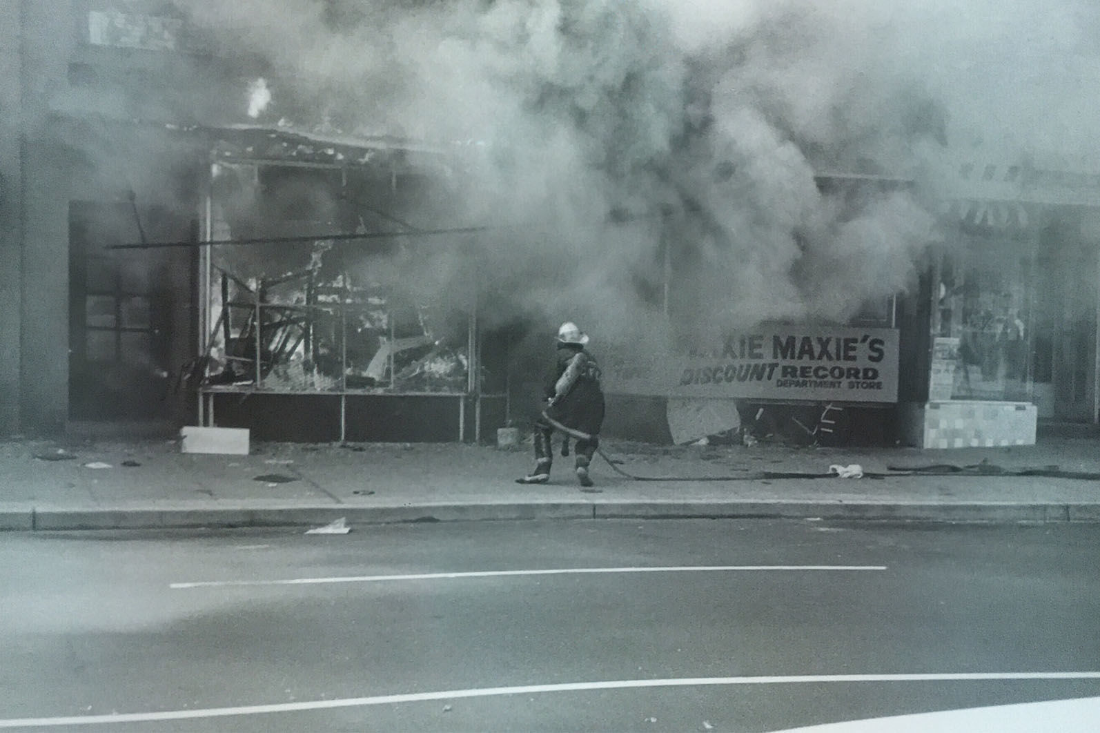 Fire destroys the Waxie Maxie record shop in the 1800 block of Seventh Street. (Courtesy D.C. Fire and EMS Museum)