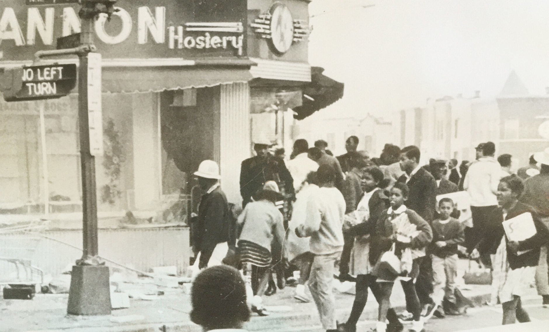 Crowds near a looted store. (Courtesy D.C. Fire and EMS Museum)