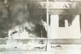 A Safeway set ablaze. (Courtesy D.C. Fire and EMS Museum)