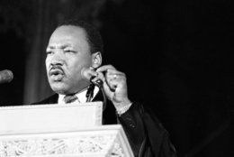 Dr. Martin Luther King Jr., discusses his planned poor people's demonstration from the pulpit of the Washington National Cathedral in Washington, D.C., March 31, 1968.  (AP Photo)