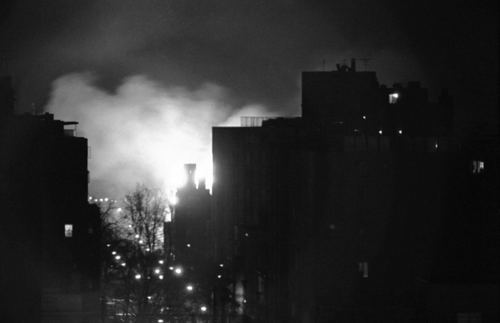 Fires and billowing smoke from burning building during the night in the area of 9th and Massachusetts Ave., N.W., in Washington on April 5, 1968. It was made from the top of the Machinists Union Building at Connecticut Avenue and N Streets, N.W. (AP Photo/Charles W. Harrity)
