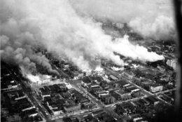 This aerial view shows clouds of smoke rising from burning buildings in northeast Washington, D.C. on April 5, 1968. The fires resulted from rioting and demonstrations after the assassination of Dr. Martin Luther King, Jr. in Memphis, Tenn. on April 4. (AP Photo)