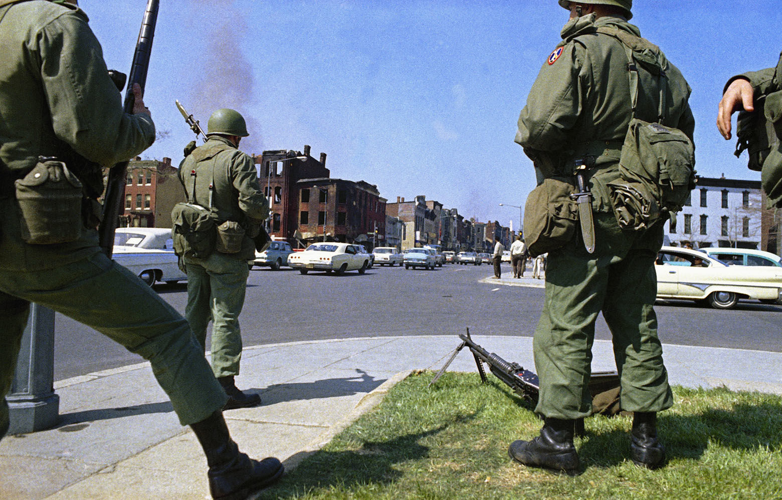 The National Guard were called out to quell rioting that broke out in Washington following the news of the assassination of Dr. Martin Luther King Jr., April 6, 1968.  (AP Photo)