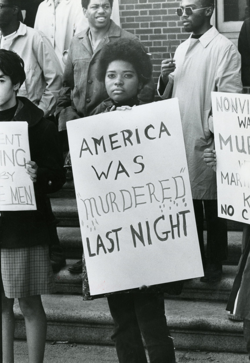 Howard University students hold a rally-cum-wake the day following King's assassination. A few weeks before the civil rights leader was gunned down, protesting Howard students had taken over the administration building, calling for the university president's resignation and other demands. Reprinted with permission of the DC Public Library, Star Collection, © Washington Post.