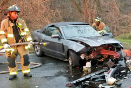 A serious crash on Rock Creek Parkway Thursday morning sent four people to the hospital. (Courtesy Courtesy D.C. Fire and EMS)