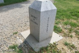 A D.C. boundary marker near the Jones Point Lighthouse. (WTOP/William Vitka)