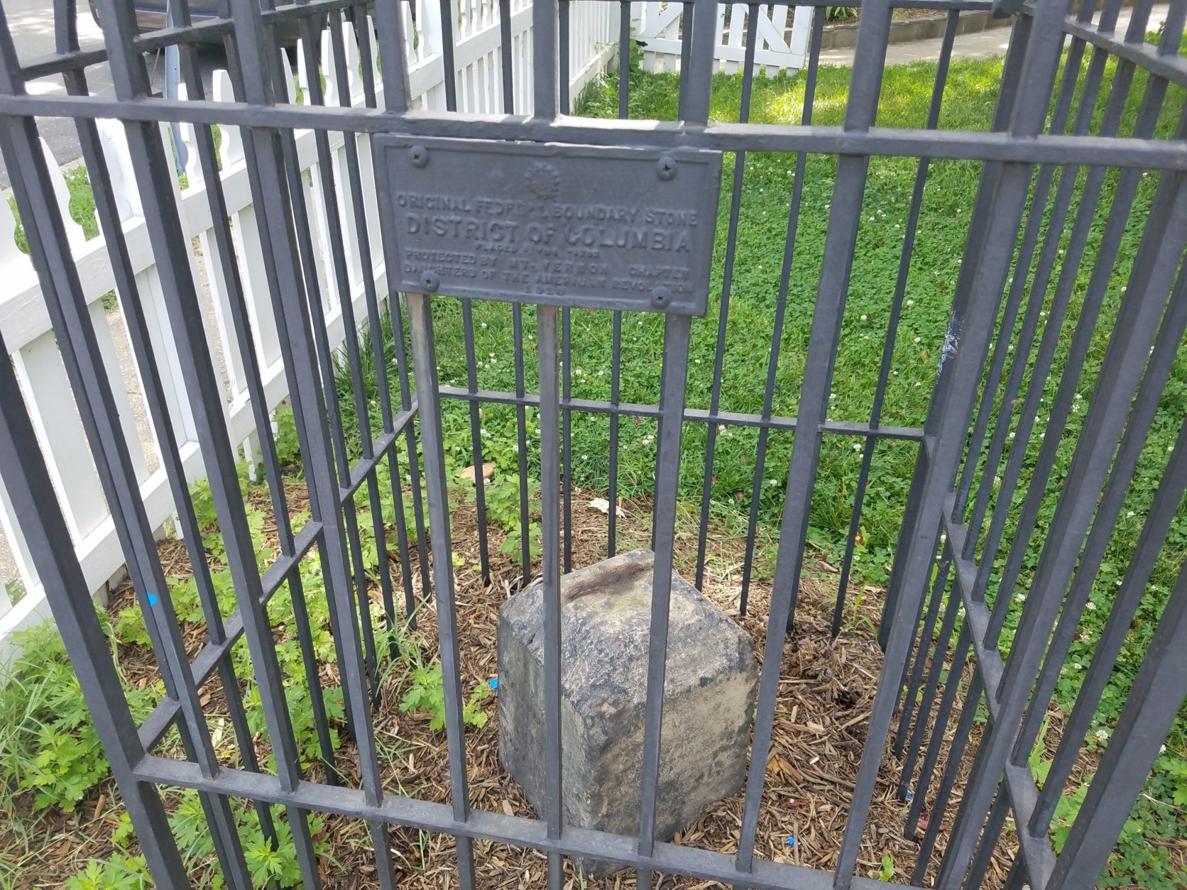 The SW1 Boundary Stone in Alexandria, Virginia. (WTOP/William Vitka)