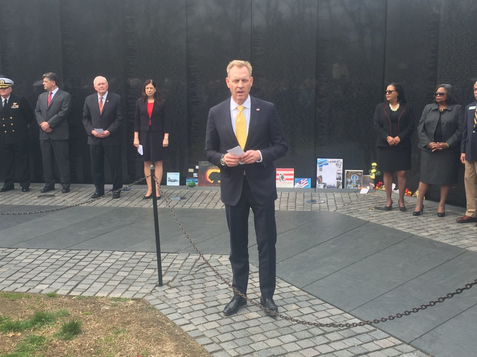 Deputy Defense Secretary Pat Shanahan delivers remarks at Thursday's ceremony. (WTOP/Mike Murillo)