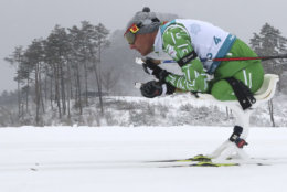 Dzmitry Loban of Belarus competes in the Biathlon Men's 15km Sitting event during the 2018 Winter Paralympics at the Alpensia Biathlon Centre in Pyeongchang, South Korea, Friday, March 16, 2018. (AP Photo/Ng Han Guan)