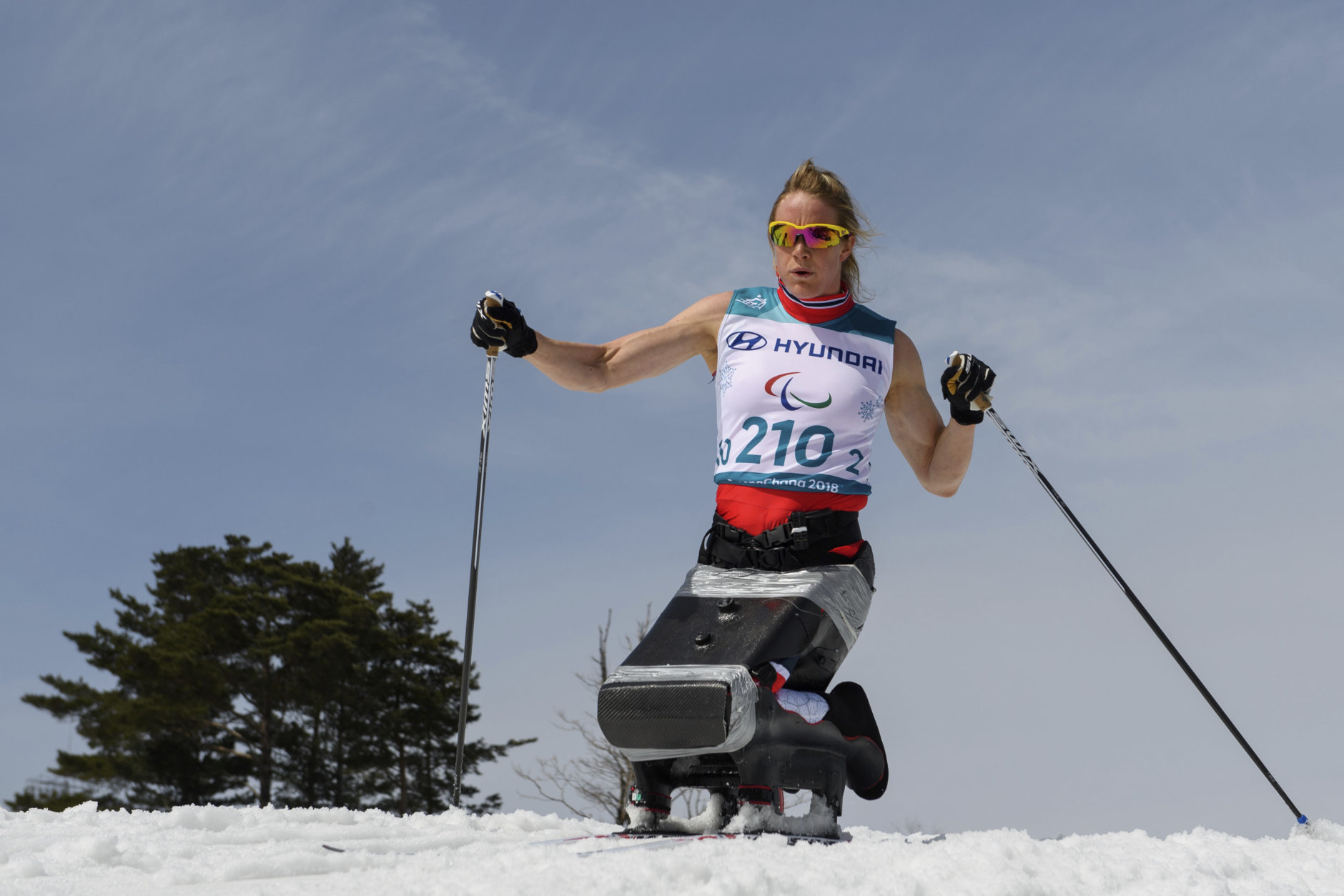 Birgit Skarstein NOR competes during the Cross Country Skiing Women's Sitting 5km at the Alpensia Biathlon Centre in Pyeongchang, South Korea at the 2018 Winter Paralympics Saturday, March 17, 2018. (Thomas Lovelock/OIS/IOC via AP)