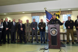 St. Mary's County Sheriff Tim Cameron, third from right, speaks about the shooting at Great Mills High School during a news conference in Great Mills, Md., Tuesday, March 20, 2018. Cameron is joined by Maryland Gov. Larry Hogan, fourth from right. (AP Photo/Susan Walsh)