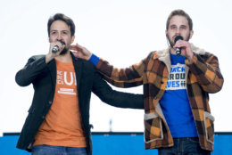 """Lin-Manuel Miranda and Ben Platt perform """"Found Tonight"""" during the """"March for Our Lives"""" rally in support of gun control in Washington, Saturday, March 24, 2018. (AP Photo/Andrew Harnik)"""