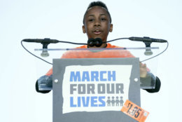 """Christopher Underwood, a junior ambassador with Moms Demand Action for Gun Sense in America, who lost his brother to gun violence in the Brooklyn borough of New York in 2012, speaks during the """"March for Our Lives"""" rally in support of gun control in Washington, Saturday, March 24, 2018. (AP Photo/Andrew Harnik)"""