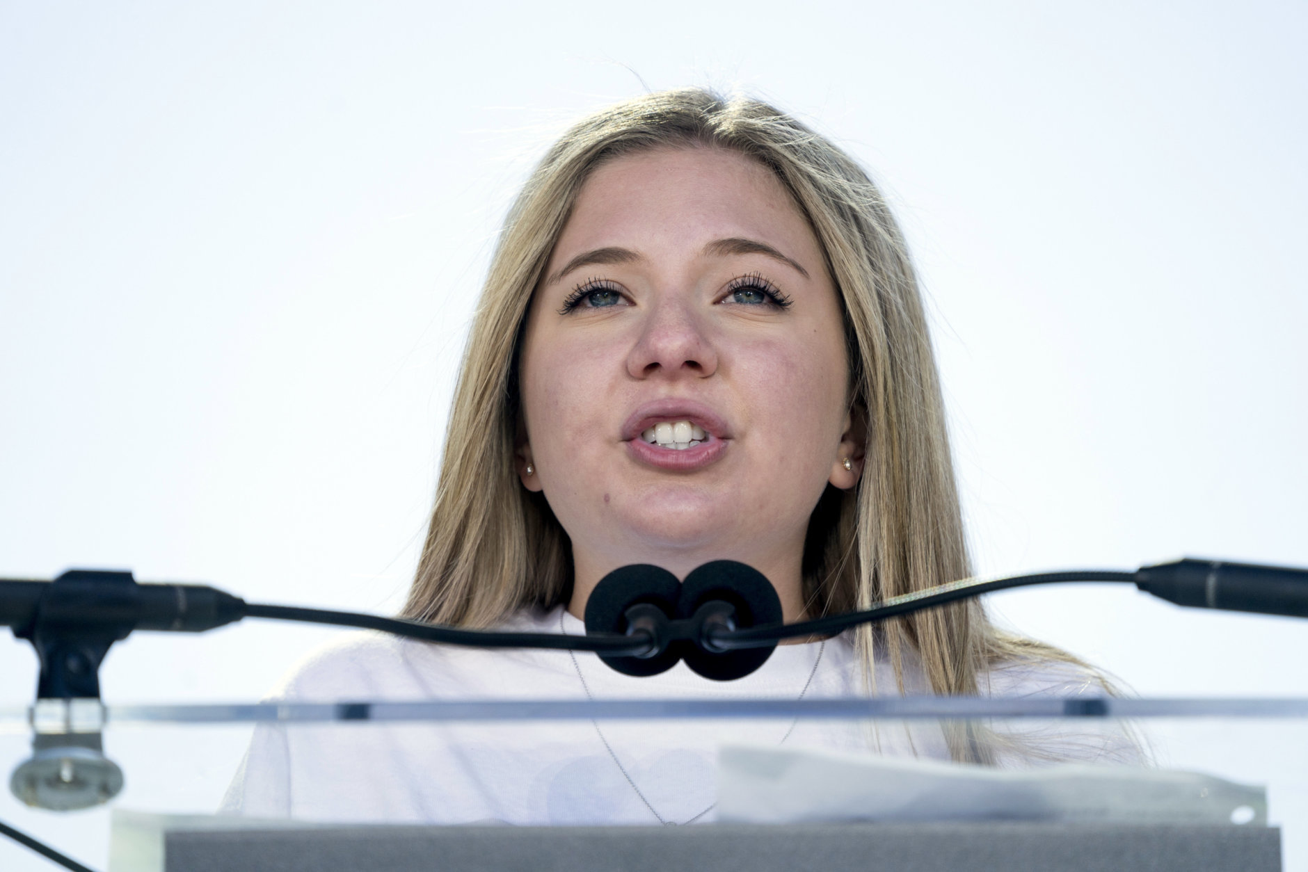 """Jaclyn Corin, a student at Marjory Stoneman Douglas High School in Parkland, Fla., and one of the organizers of the rally, speaks during the """"March for Our Lives"""" rally in support of gun control in Washington, Saturday, March 24, 2018. (AP Photo/Andrew Harnik)"""
