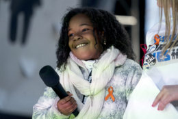 """Yolanda Renee King, grand daughter of Martin Luther King Jr., speaks during the """"March for Our Lives"""" rally in support of gun control in Washington, Saturday, March 24, 2018. (AP Photo/Andrew Harnik)"""