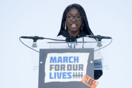 """Student Aalayah Eastmond, a survivor of the mass shooting at Marjory Stoneman Douglas High School in Parkland, Fla., speaks during the """"March for Our Lives"""" rally in support of gun control in Washington, Saturday, March 24, 2018. (AP Photo/Andrew Harnik)"""