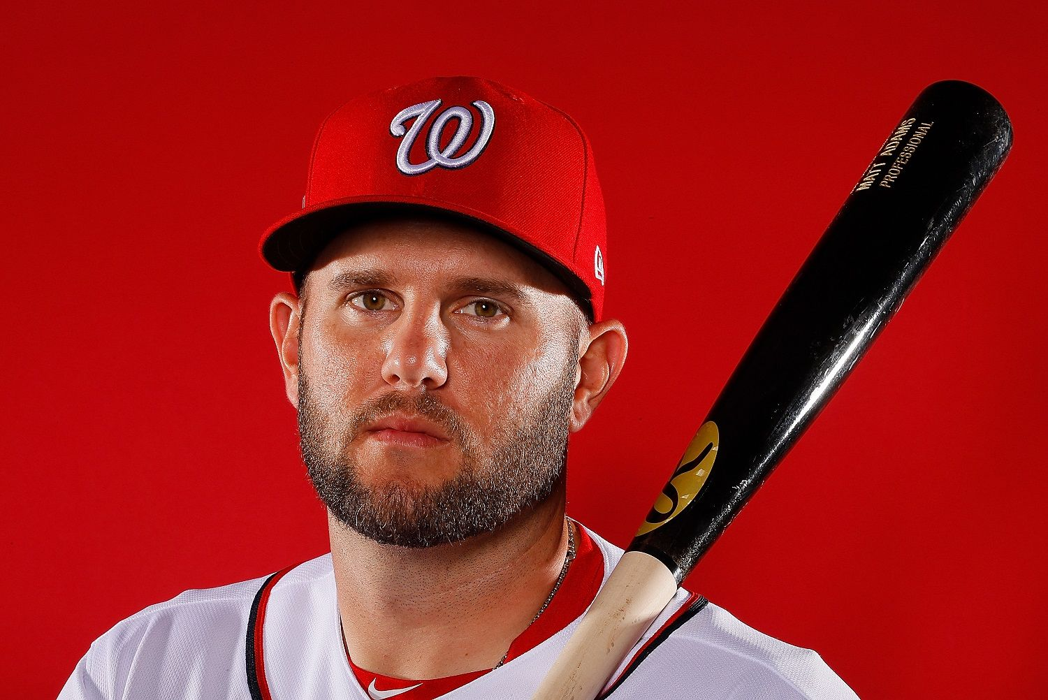 WEST PALM BEACH, FL - FEBRUARY 22:  Matt Adams #15 of the Washington Nationals poses for a photo during photo days at The Ballpark of the Palm Beaches on February 22, 2018 in West Palm Beach, Florida.  (Photo by Kevin C. Cox/Getty Images)