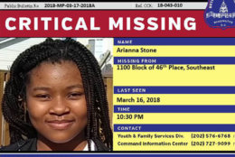 """D.C. Police and the FBI are asking for the public's help in finding 11-year-old Arianna Stone, who was last seen in the 1100 block of 46th Place, Southeast on Friday, March 16. She is described as 5'8"""" and 150 pounds with waist length hair braided hair. She was last seen wearing a pink windbreaker and a black hoodie with red roses on the sleeves. (Courtesy DC Police)"""