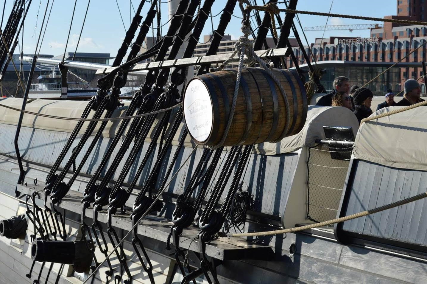 Down in the hold of the historic U.S.S. Constellation in Baltimore's Inner Harbor are four barrels of rum that have been aging on the ship for a year. (Courtesy Tobacco Barn Distillery)