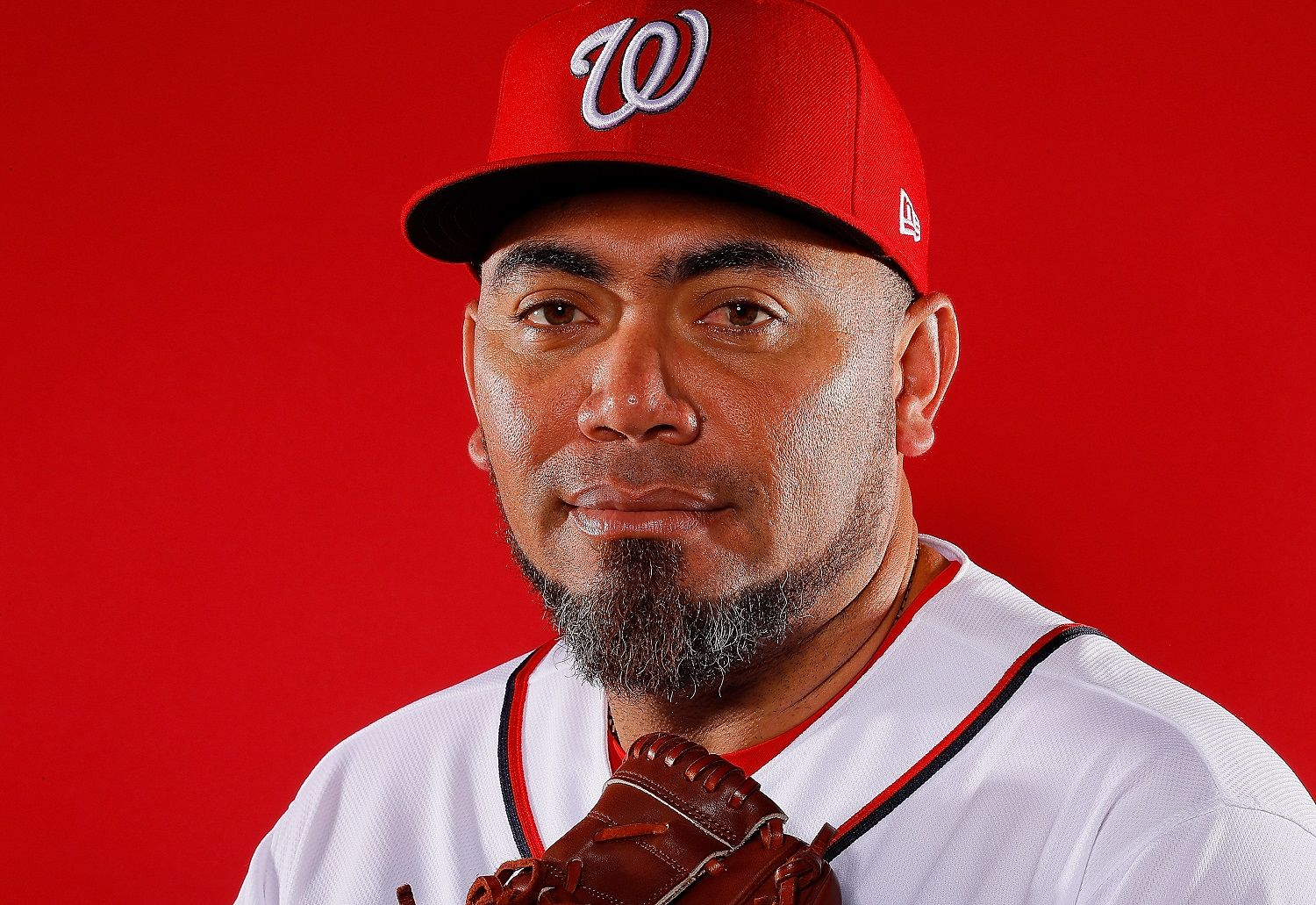 WEST PALM BEACH, FL - FEBRUARY 22:  Joaquin Benoit #53 of the Washington Nationals poses for a photo during photo days at The Ballpark of the Palm Beaches on February 22, 2018 in West Palm Beach, Florida.  (Photo by Kevin C. Cox/Getty Images)