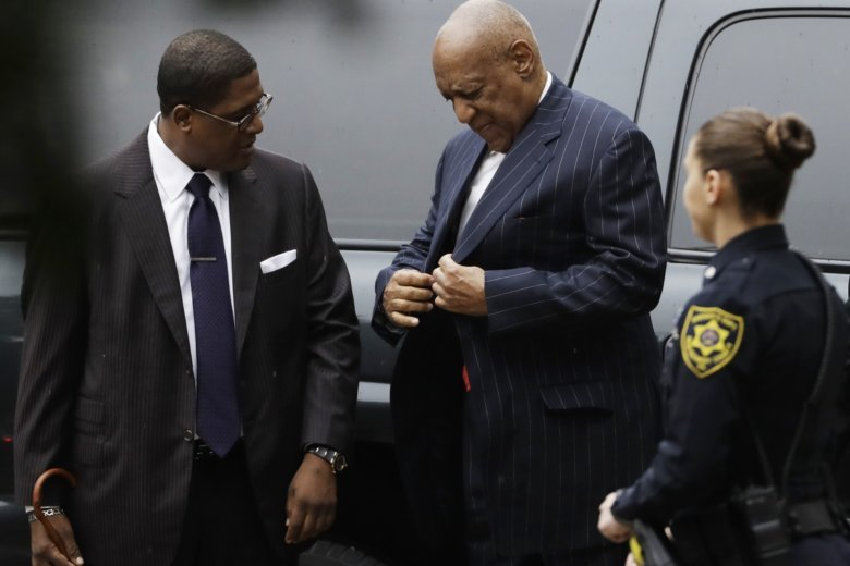 Bill Cosby arrives for a pretrial hearing in his sexual assault case,  Thursday, March 29, 2018, at the Montgomery County Courthouse in  Norristown, Pa.