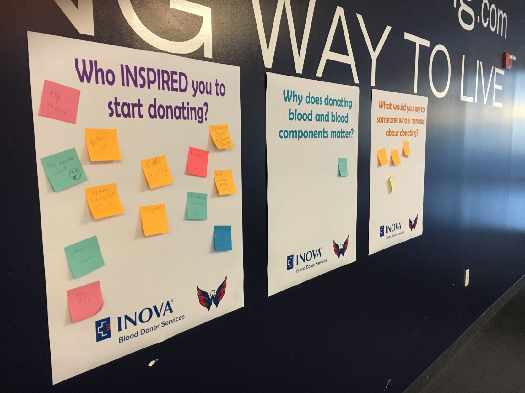 Donors at the Inova Blood Drive at Kettler Capitals Iceplex post their inspiration for giving blood. (WTOP/Keara Dowd)