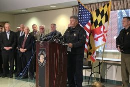 Sheriff Tim Cameron addresses the media after the shooting at Great Mills High School. (WTOP/Michelle Basch)