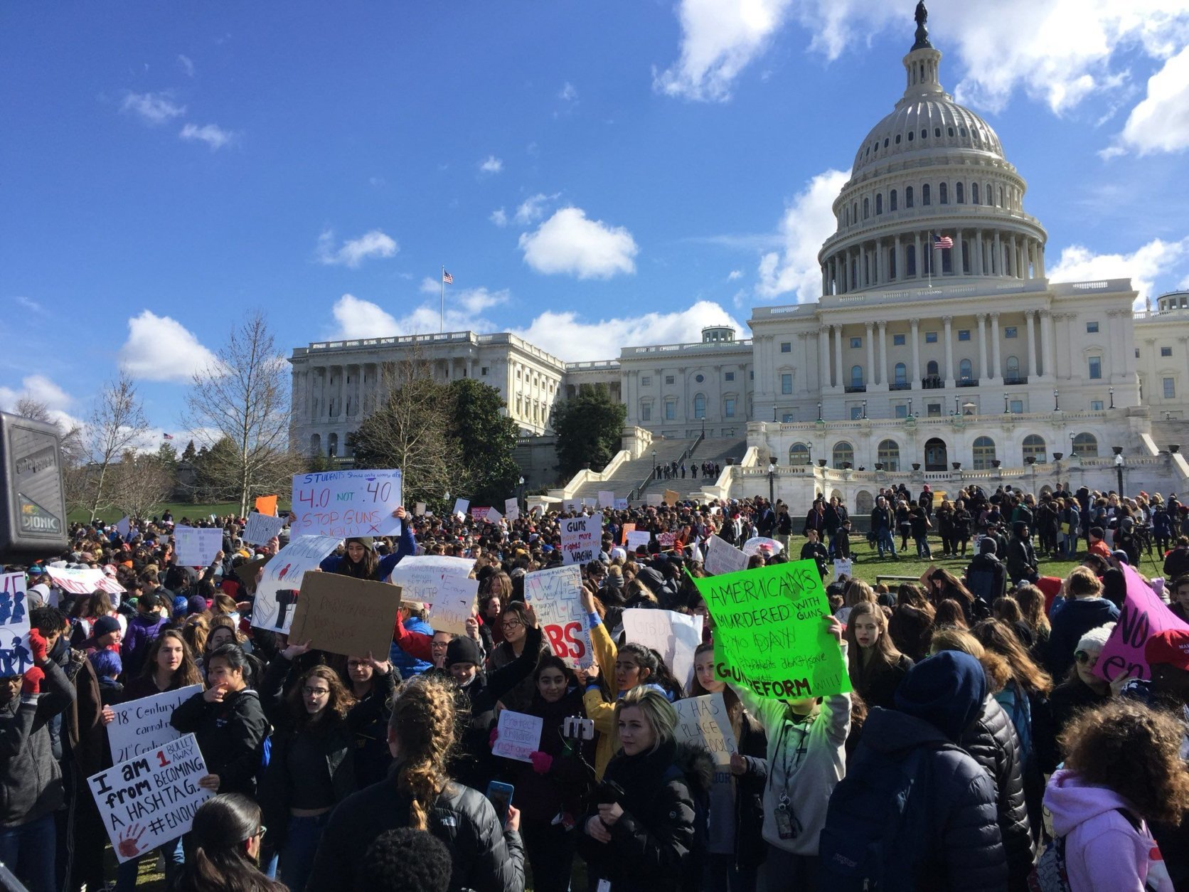 Students rally at the Capitol against gun violence on March 14, 2018. (WTOP/Kristi King)