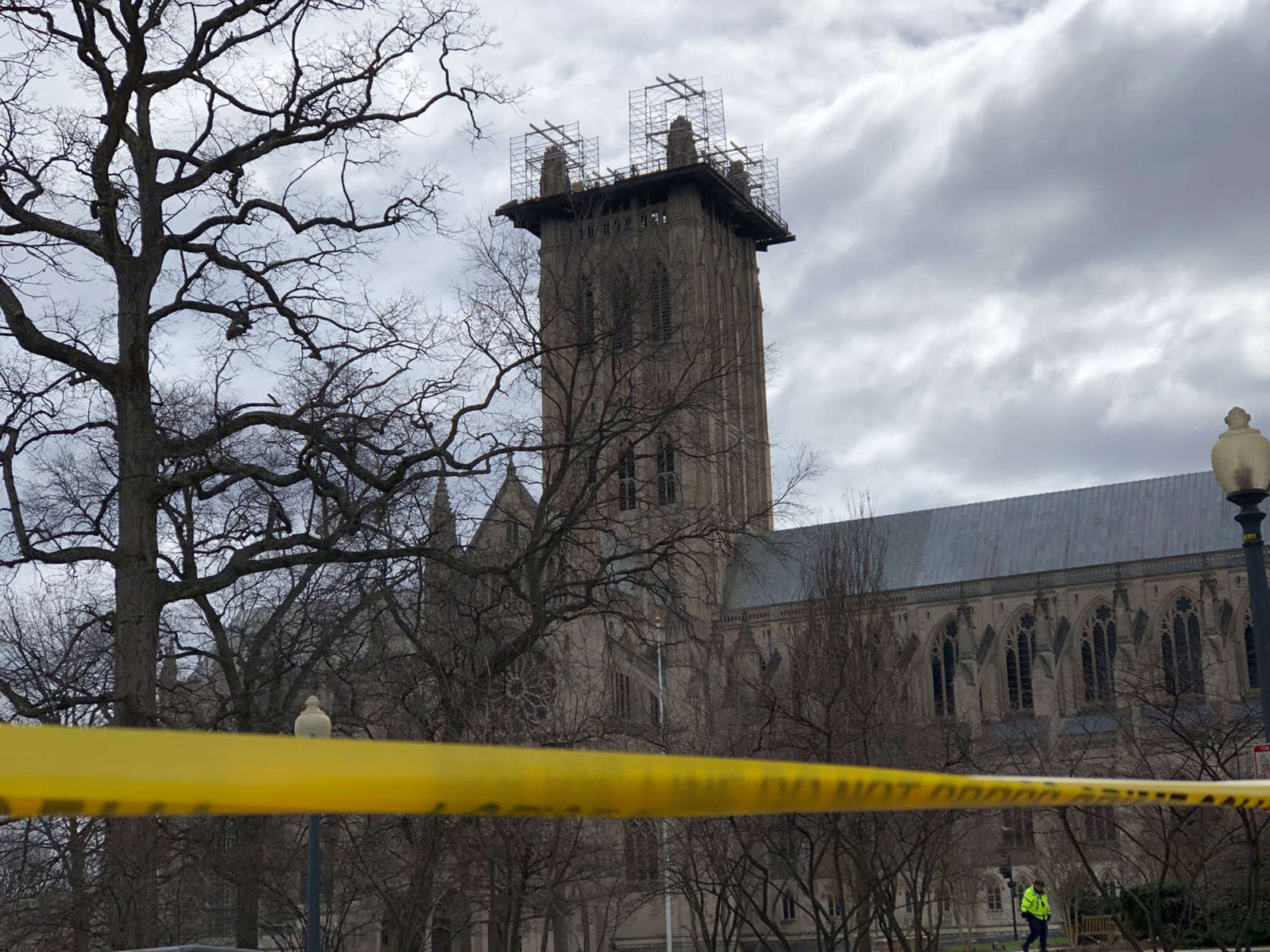 Friday's winds have closed the National Cathedral at least through Saturday. (WTOP/Kate Ryan)