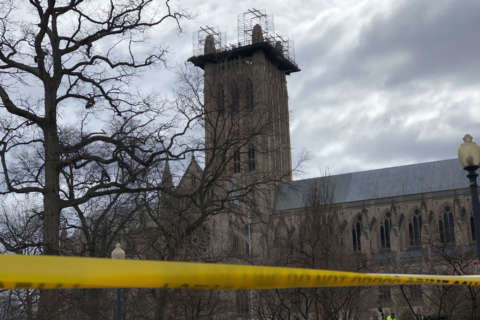 Watch: High winds close National Cathedral as some scaffolding blown off by winds