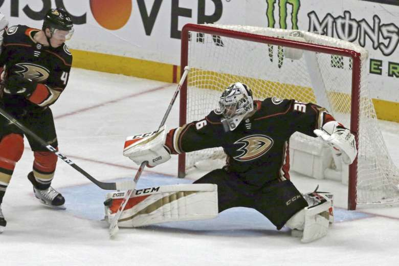 Anaheim Ducks goalie John Gibson (36) blocks a shot by the Washington  Capitals during the second period of an NHL hockey game in Anaheim. d18c8ae6dada