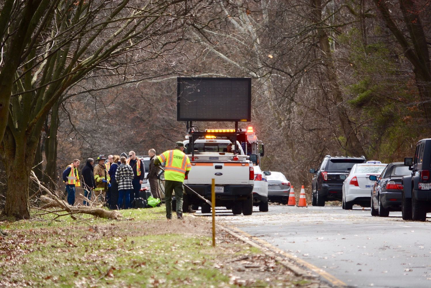 A crew works to remove a tree off the southbound George Washington Parkway. (WTOP/Dave Dildine)