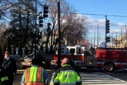 D.C. police said a driver of a  car has died after being struck by a fire truck at the intersection of 12th Street and Rhode Island Avenue in Northeast on Friday, March 9, 2018. (WTOP/Mike Murillo)