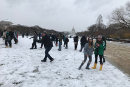 A group gathers at the National Mall on Wednesday, March 21, 2018, for a snowball fight. (WTOP/Dick Uliano)