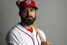 This is a 2018 photo of Adam Eaton of the Washington Nationals baseball team. This image reflects the Nationals active roster as of Feb. 22, 2018 when this image was taken. (AP Photo/Jeff Roberson)