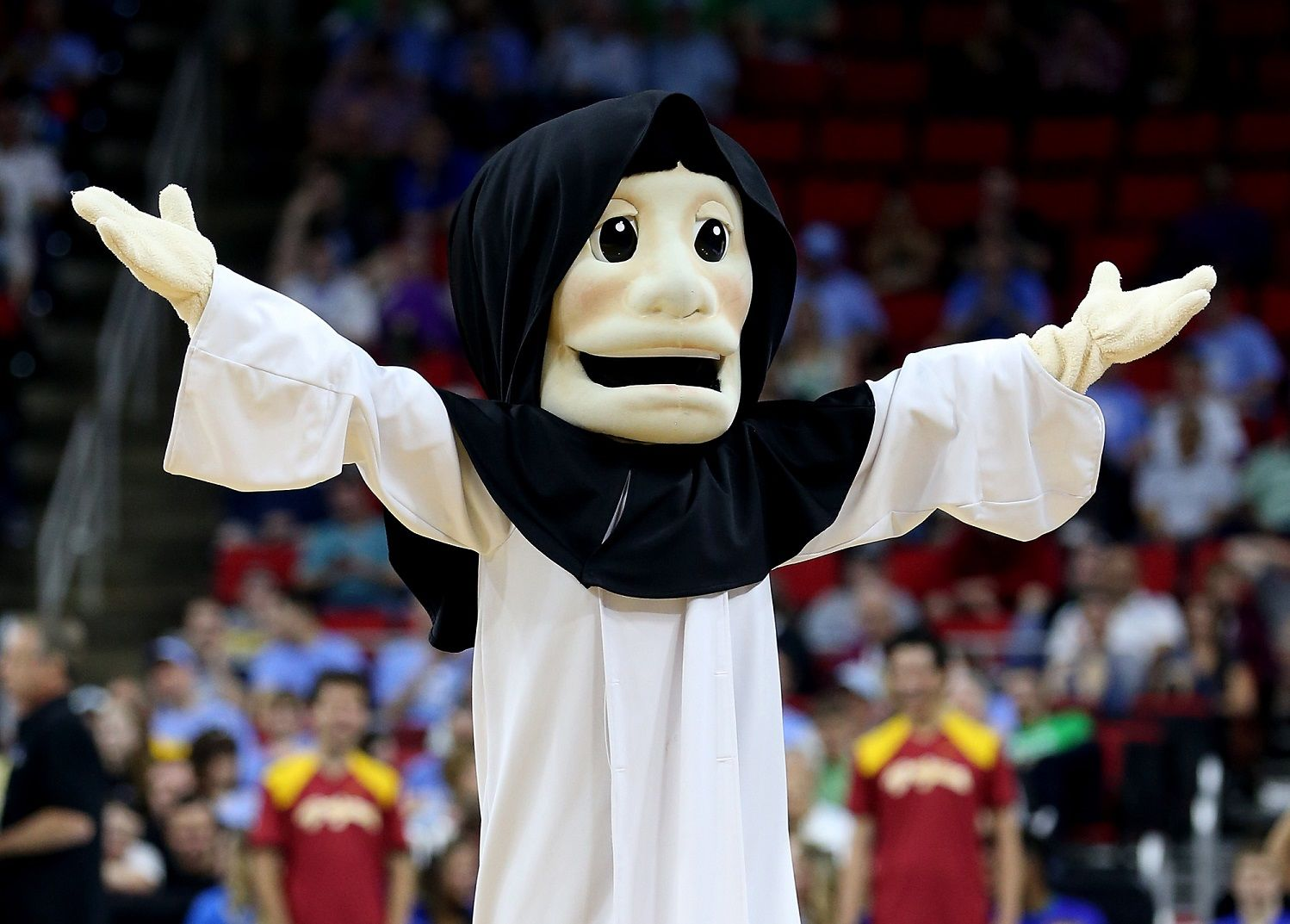 RALEIGH, NC - MARCH 17:  Providence Friars mascot Friar Dom performs in the first half against the USC Trojans during the first round of the 2016 NCAA Men's Basketball Tournament at PNC Arena on March 17, 2016 in Raleigh, North Carolina.  (Photo by Streeter Lecka/Getty Images)