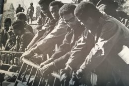 Students rally during the shutdown at Howard University in 1968. Anthony Gittens is nearest the camera. (Courtesy Anthony Gittens)